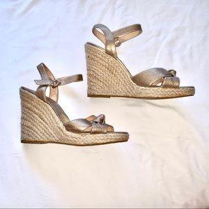 NEW Michael Kors Gold Espadrille Wedge Sandal